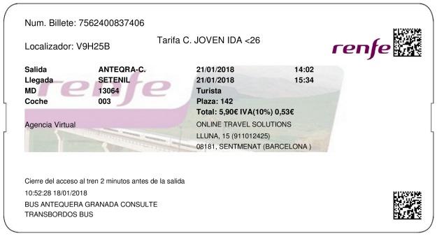 Billete Tren Antequera  Setenil de las Bodegas 21/01/2018