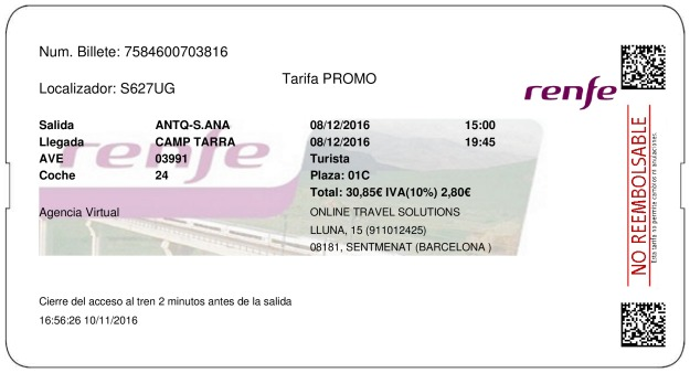 Billete Tren Antequera  Tarragona 08/12/2016