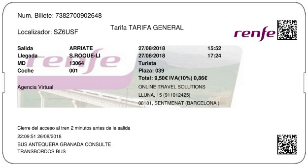 Billete Tren Arriate  San Roque 27/08/2018