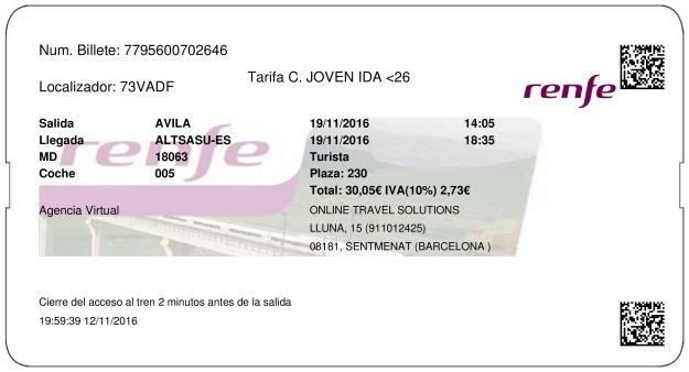 Billete Tren Ávila  Altsasu Alsasua 19/11/2016