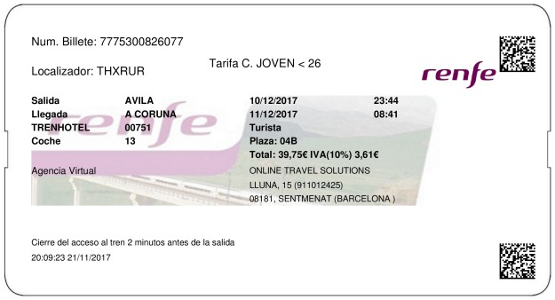 Billete Tren Ávila  La Coruña 10/12/2017