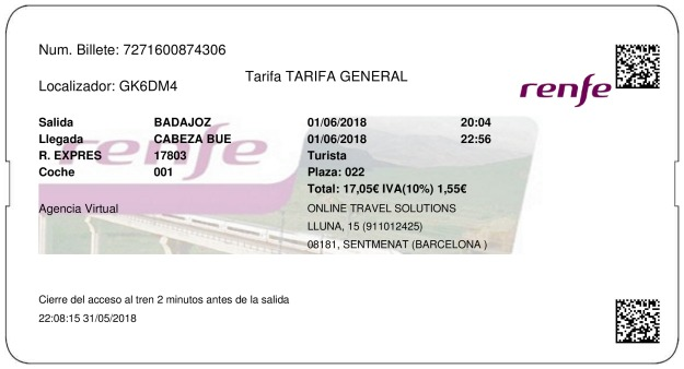 Billete Tren Badajoz  Cabeza De Buey 01/06/2018