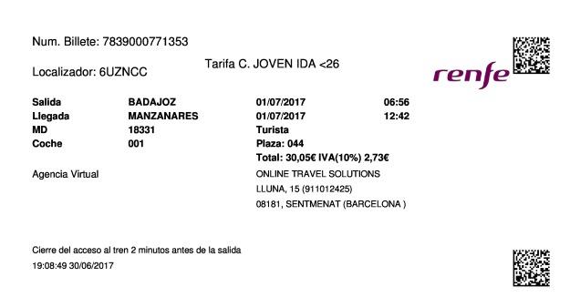 Billete Tren Badajoz  Manzanares 01/07/2017