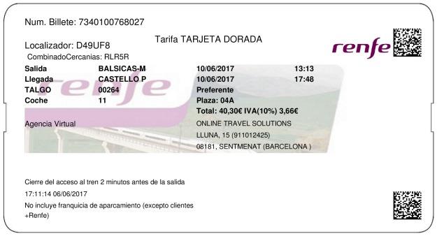 Billete Tren Balsicas  Castellón 10/06/2017