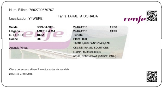 Billete Tren Barcellona  L'Ametlla De Mar 29/07/2016
