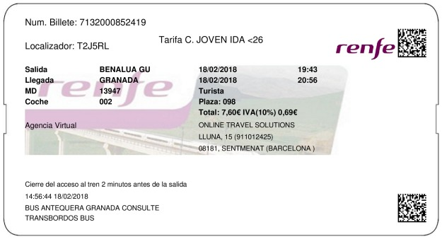 Billete Tren Benalúa de Guadix  Granada 18/02/2018