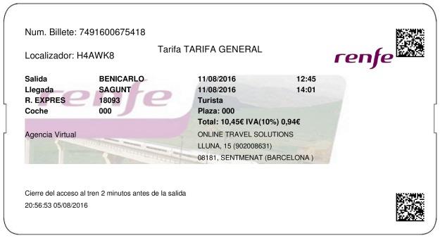 Billete Tren Benicarló  Sagunto 11/08/2016