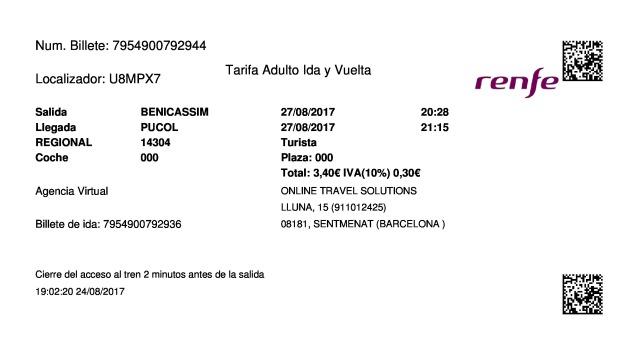 Billete Tren Benicasim  Puçol 27/08/2017