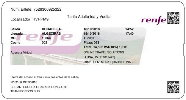 Billete Tren Bobadilla  Algeciras 18/10/2018