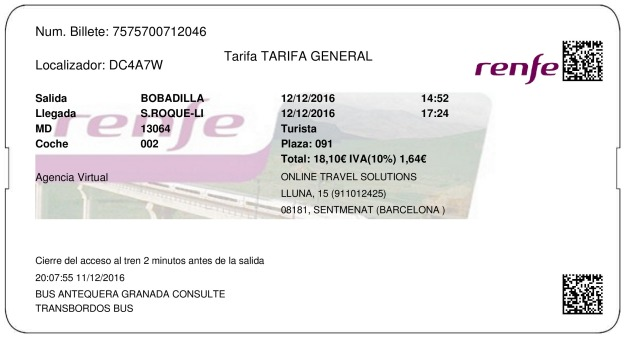Billete Tren Bobadilla  San Roque 12/12/2016