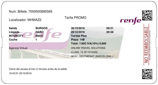 Billete Tren Burgos  Haro 26/10/2016
