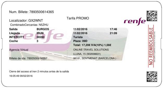 Billete Tren Burgos  Irún 11/02/2016