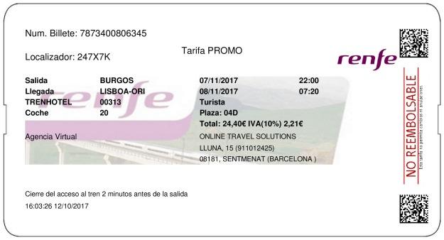 Billete Tren Burgos   07/11/2017