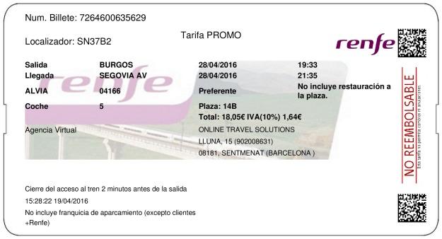 Billete Tren Burgos  Segovia 28/04/2016