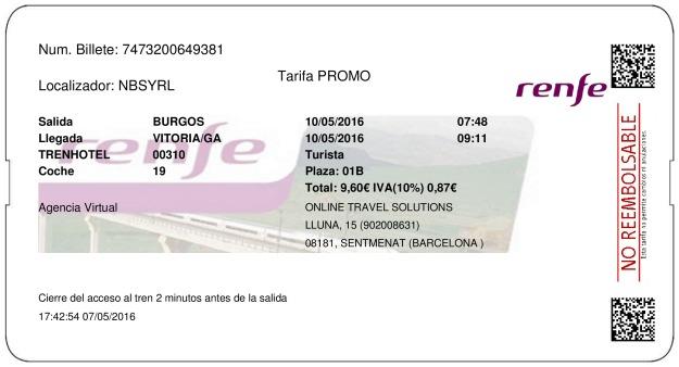 Billete Tren Burgos  Vitoria Gasteiz 10/05/2016