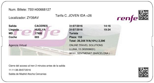 Billete Tren Cáceres  Huelva 31/07/2016