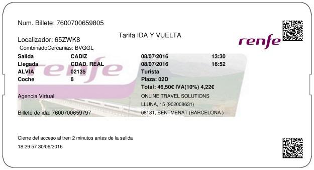 Billete Tren Cádiz  Ciudad Real 08/07/2016