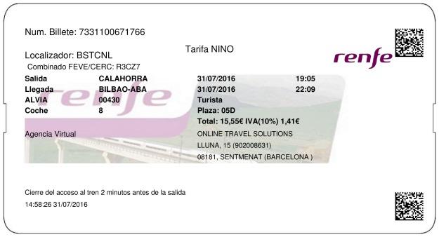 Billete Tren Calahorra  Bilbao 31/07/2016