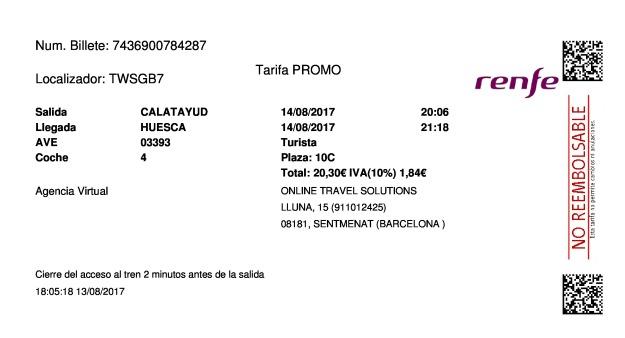 Billete Tren Calatayud  Huesca 14/08/2017