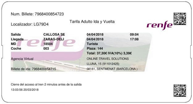 Billete Tren Callosa De Segura  Zaragoza 04/04/2018