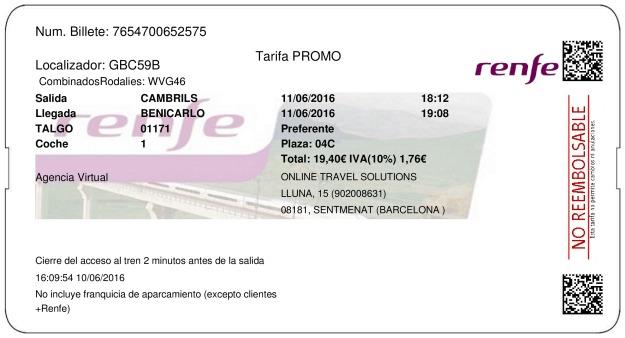 Billete Tren Cambrils  Benicarló 11/06/2016