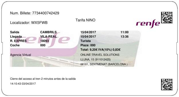 Billete Tren Cambrils  Villarreal 15/04/2017