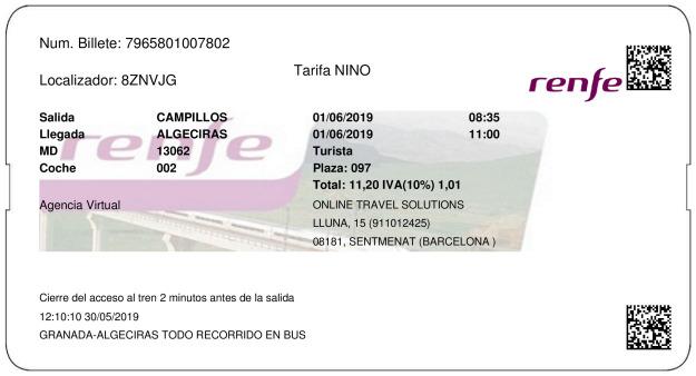 Billete Tren Campillos  Algeciras 01/06/2019