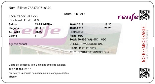 Billete Tren Cartagena  Hellín 16/01/2017