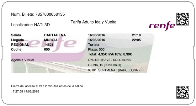 Billete Tren Cartagena  Murcia 16/06/2016