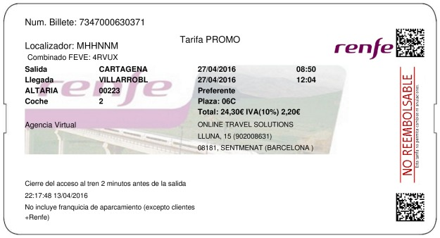 Billete Tren Cartagena  Villarrobledo 27/04/2016