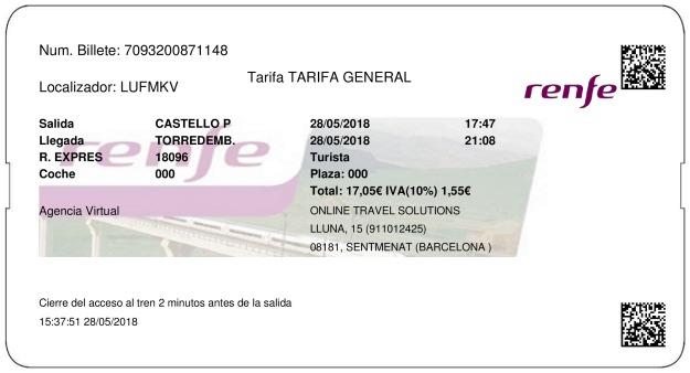 Billete Tren Castellón  Torredembarra 28/05/2018