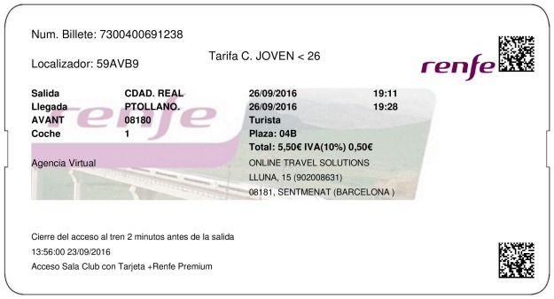 Billete Tren Ciudad Real  Puertollano 26/09/2016