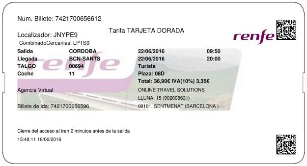 Billete Tren Córdoba  Barcelone 22/06/2016