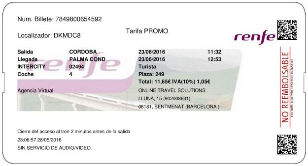 Billete Tren Córdoba  La Palma Del Condado 23/06/2016
