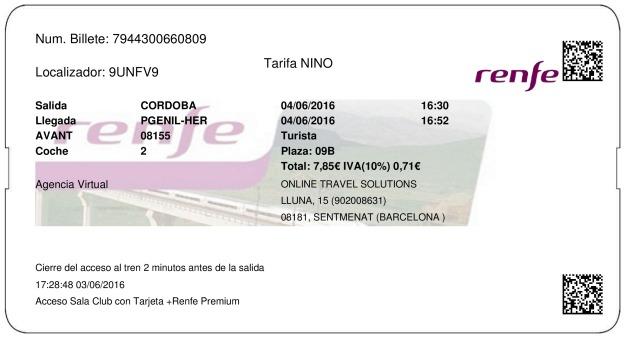 Billete Tren Córdoba  Puente Genil Herrera 04/06/2016