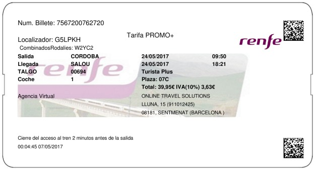 Billete Tren Córdoba  Salou 24/05/2017