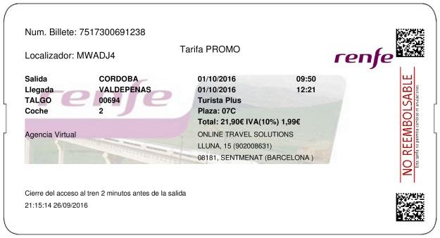Billete Tren Córdoba  Valdepeñas 01/10/2016