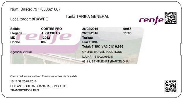 Billete Tren Cortes De La Frontera  Algésiras 26/02/2016