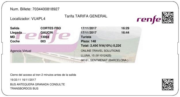 Billete Tren Cortes De La Frontera  Gaucín 17/11/2017