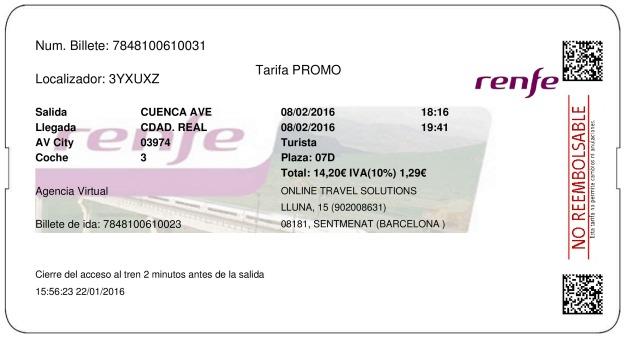 Billete Tren Cuenca  Ciudad Real 08/02/2016