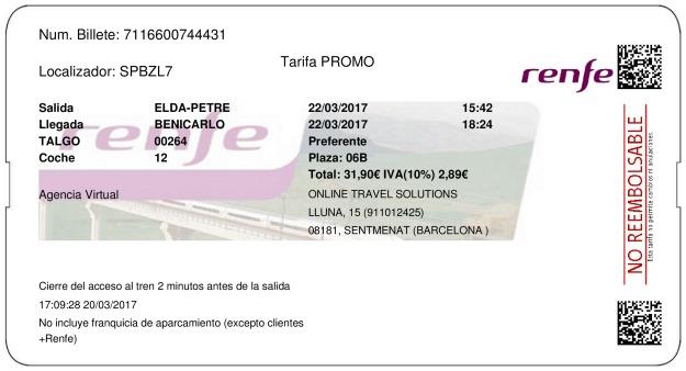 Billete Tren Elda  Benicarló 22/03/2017