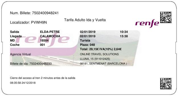 Billete Tren Elda  Calamocha 02/01/2019