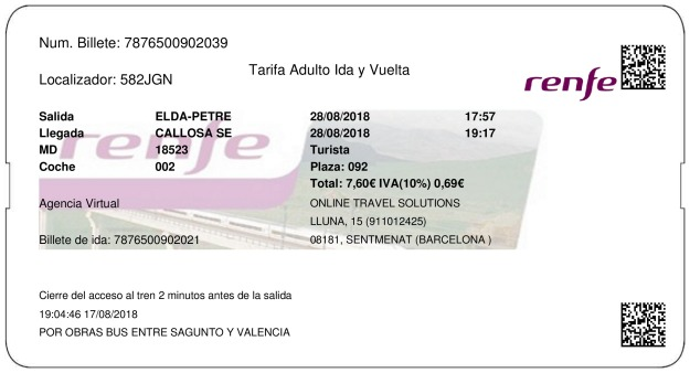 Billete Tren Elda  Callosa De Segura 28/08/2018