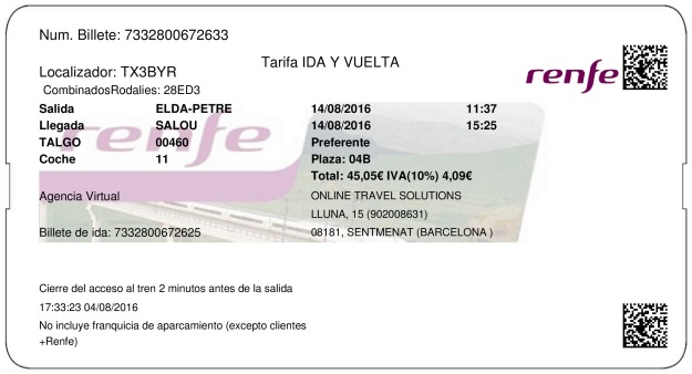 Billete Tren Elda  Salou 14/08/2016