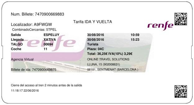 Billete Tren Espelúy  Xàtiva 30/08/2016