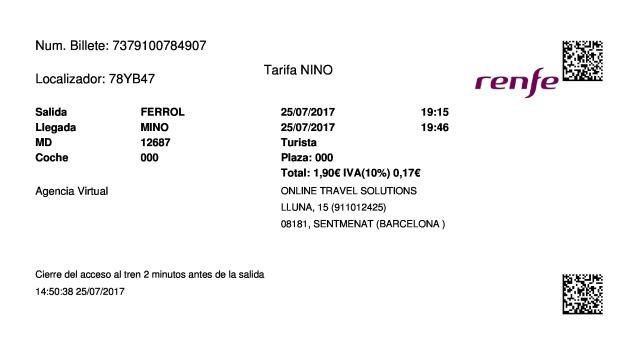 Billete Tren Ferrol  Minho 25/07/2017