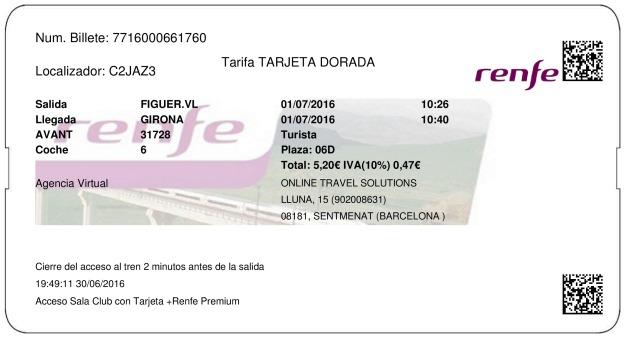 Billete Tren Figueres  Girona 01/07/2016