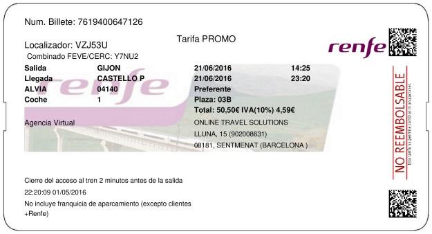 Billete Tren Gijón  Castellón 21/06/2016