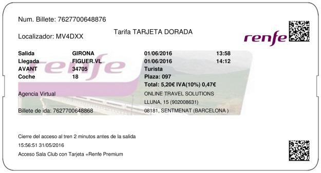 Billete Tren Girona  Figueres 01/06/2016