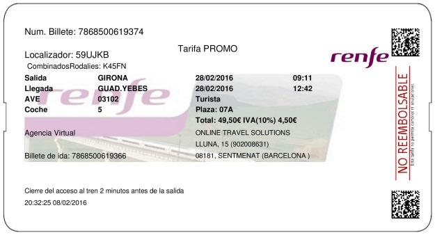 Billete Tren Girona  Guadalajara 28/02/2016